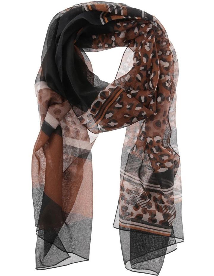Mixed Leopard Print Chiffon Scarf image 1