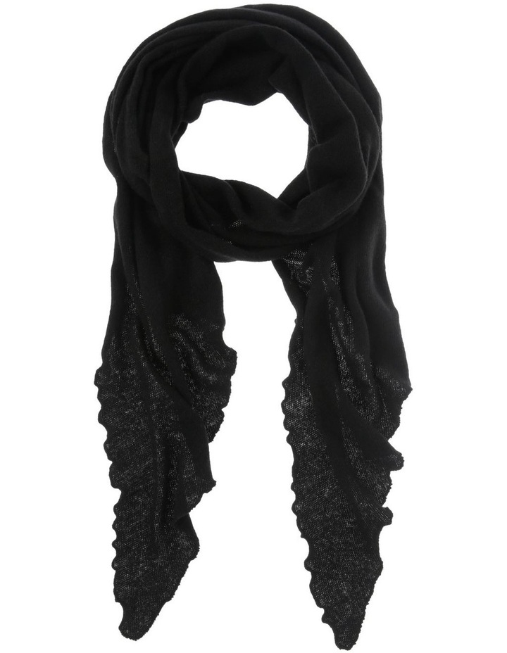 Lettuce-Edge Knitted Winter Scarf in Black image 1
