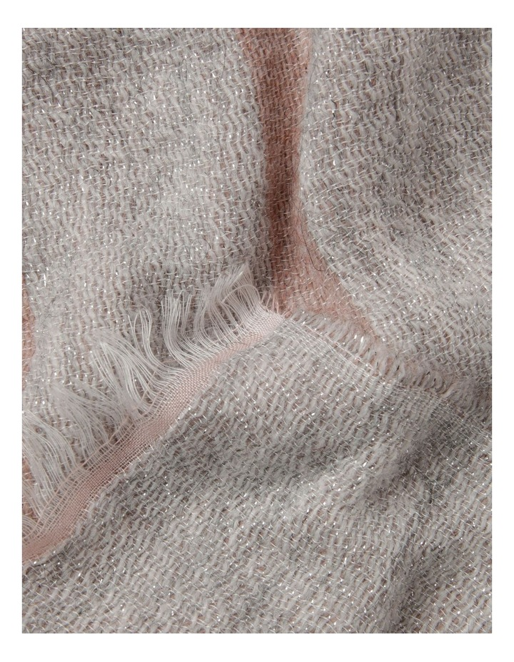 Reversible Lurex Striped Scarf in Pink image 2