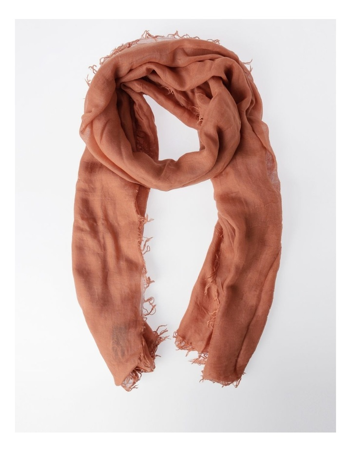 Tencel Fringed Scarf in Rust image 1