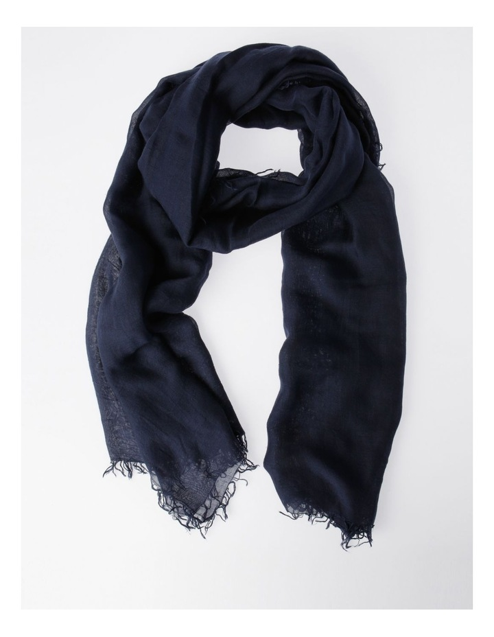 Tencel Fringed Scarf in Navy image 1