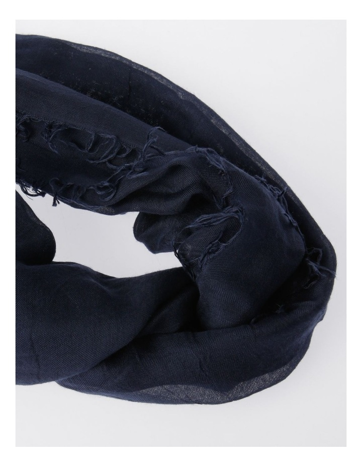 Tencel Fringed Scarf in Navy image 2