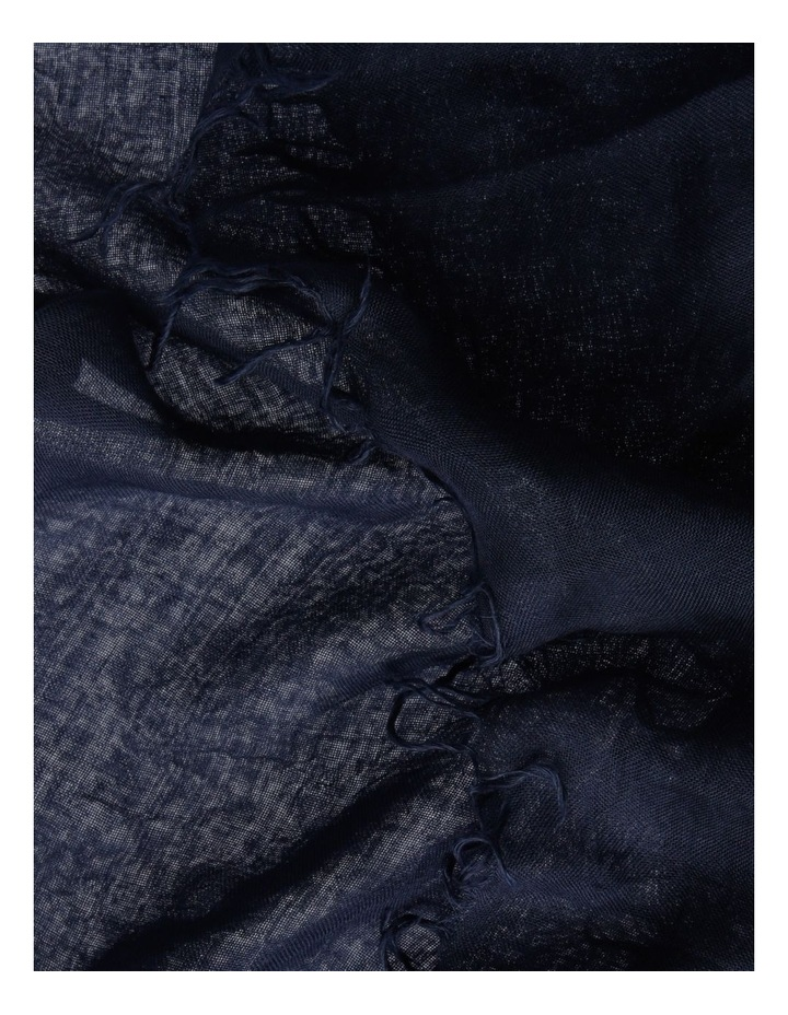 Tencel Fringed Scarf in Navy image 3