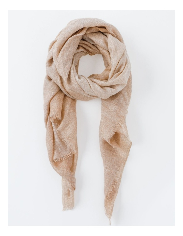 Tan Tonal Wool and Cashmere Scarf image 1