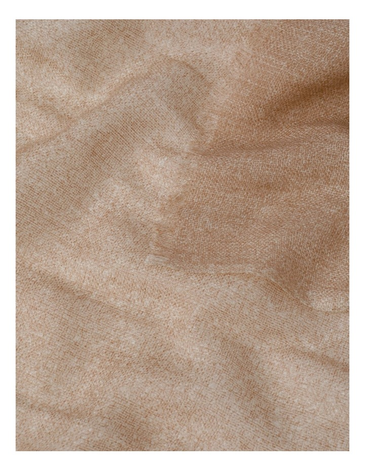 Tan Tonal Wool and Cashmere Scarf image 3