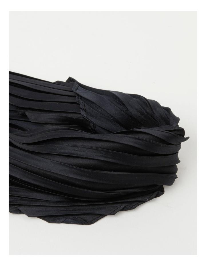 Silky Pleated Black Neckerchief Scarf image 2