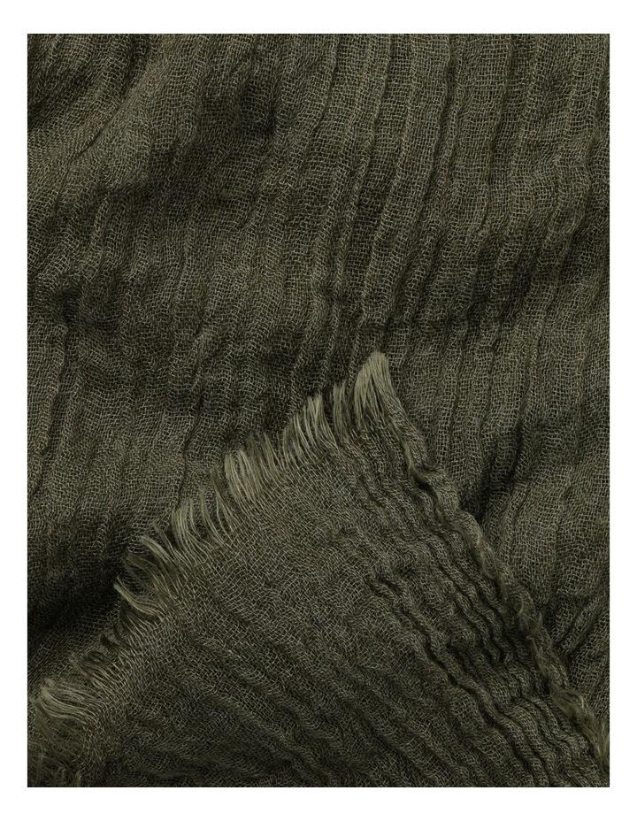 Olive Frayed Edge Crinkle Scarf image 3