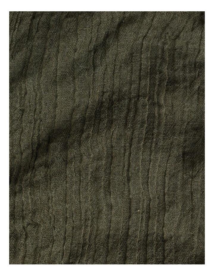 Olive Frayed Edge Crinkle Scarf image 4