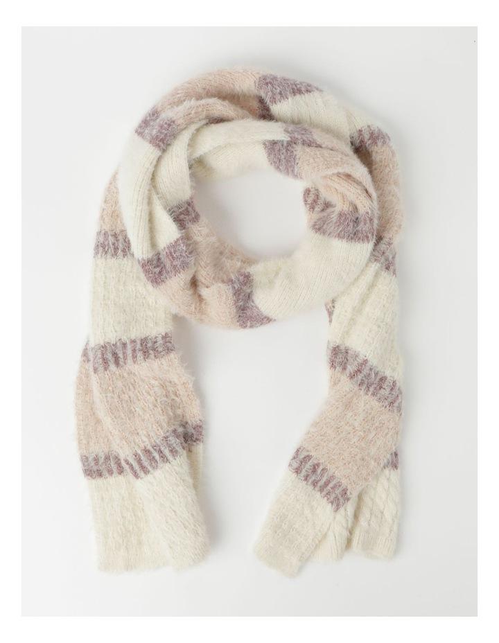 Furry Striped Cream/ Pink Winter Scarf image 1