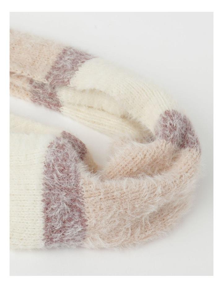 Furry Striped Cream/ Pink Winter Scarf image 2