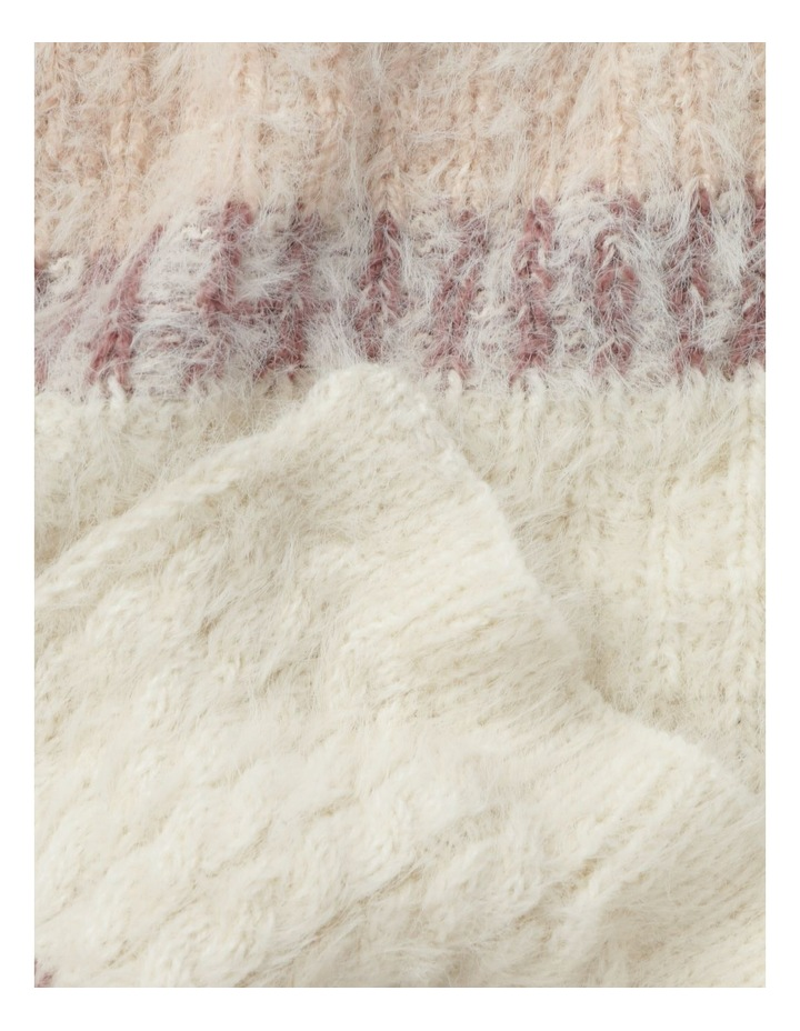 Furry Striped Cream/ Pink Winter Scarf image 3