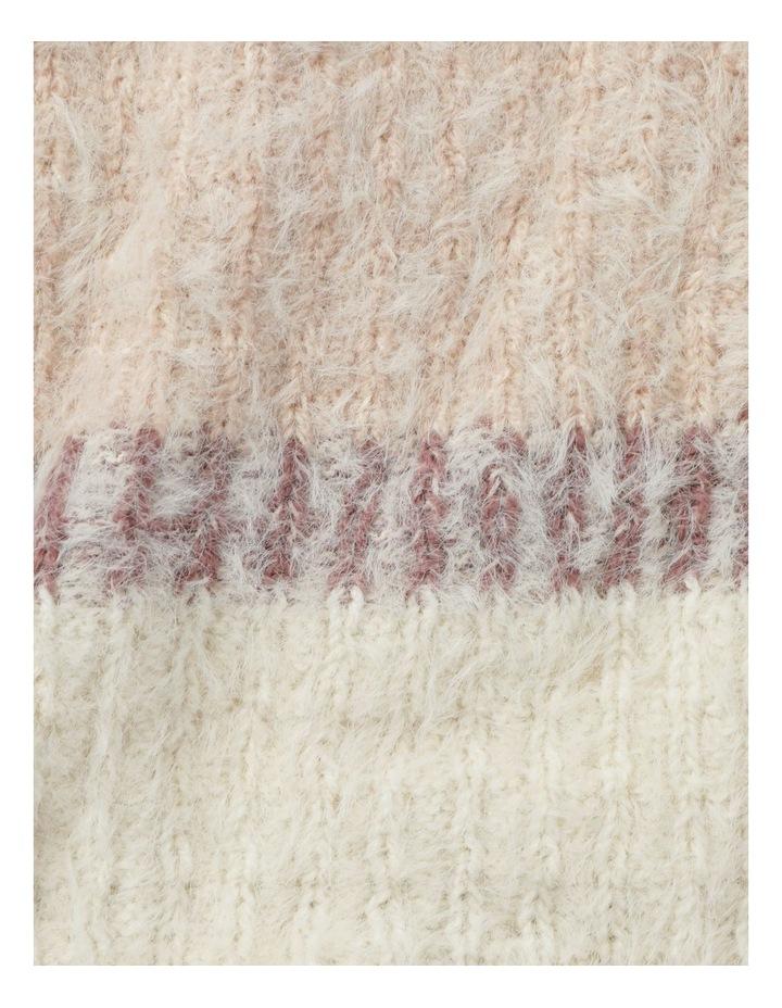 Furry Striped Cream/ Pink Winter Scarf image 4