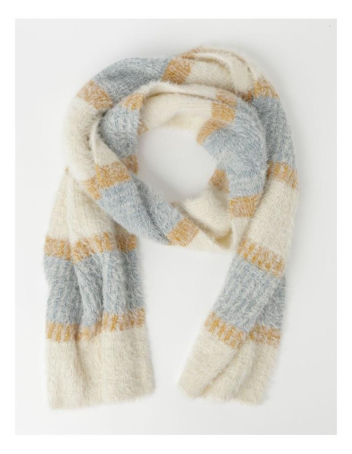 Furry Striped Cream/ Blue Winter Scarf image 1