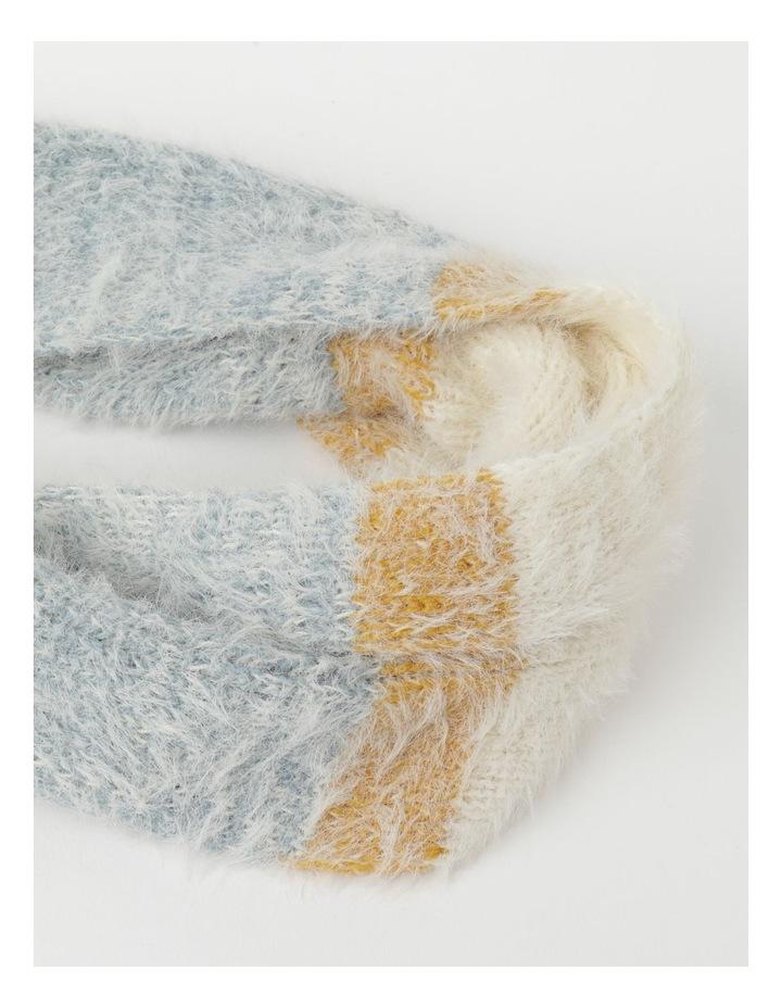Furry Striped Cream/ Blue Winter Scarf image 2