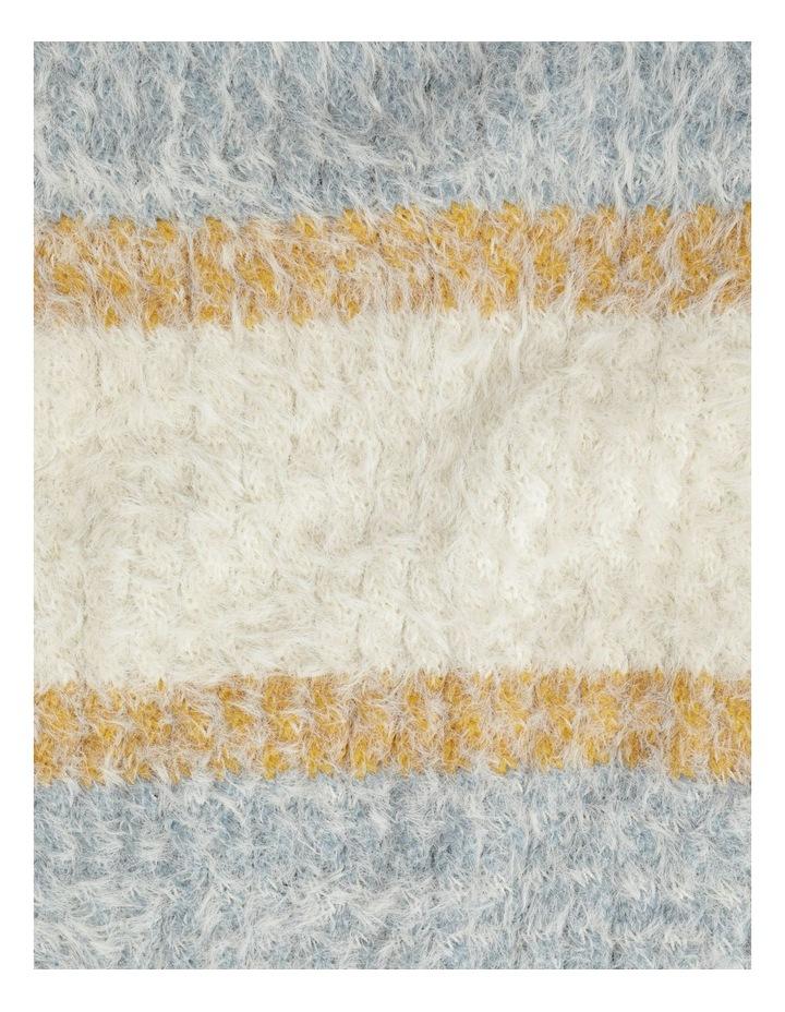Furry Striped Cream/ Blue Winter Scarf image 4
