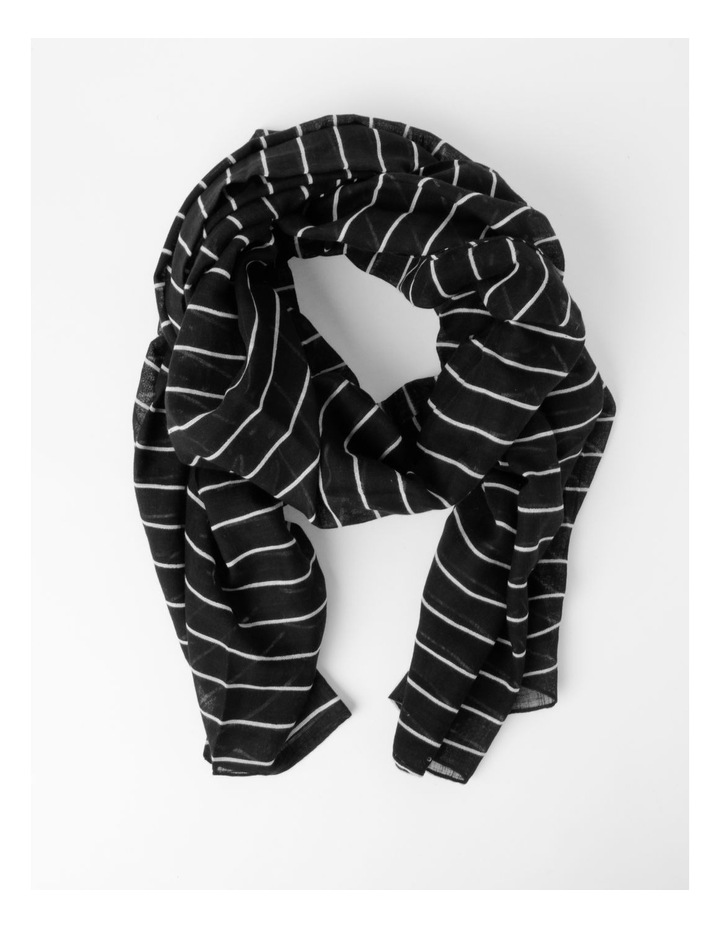 Thin Stripe Black Cotton Scarf image 1