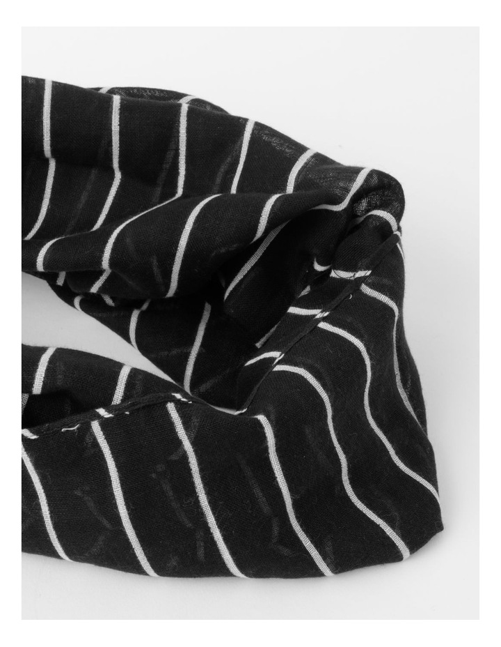 Thin Stripe Black Cotton Scarf image 2