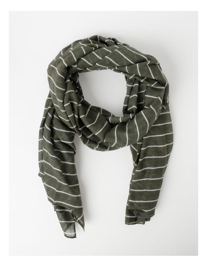 Thin Stripe Green Cotton Scarf image 1