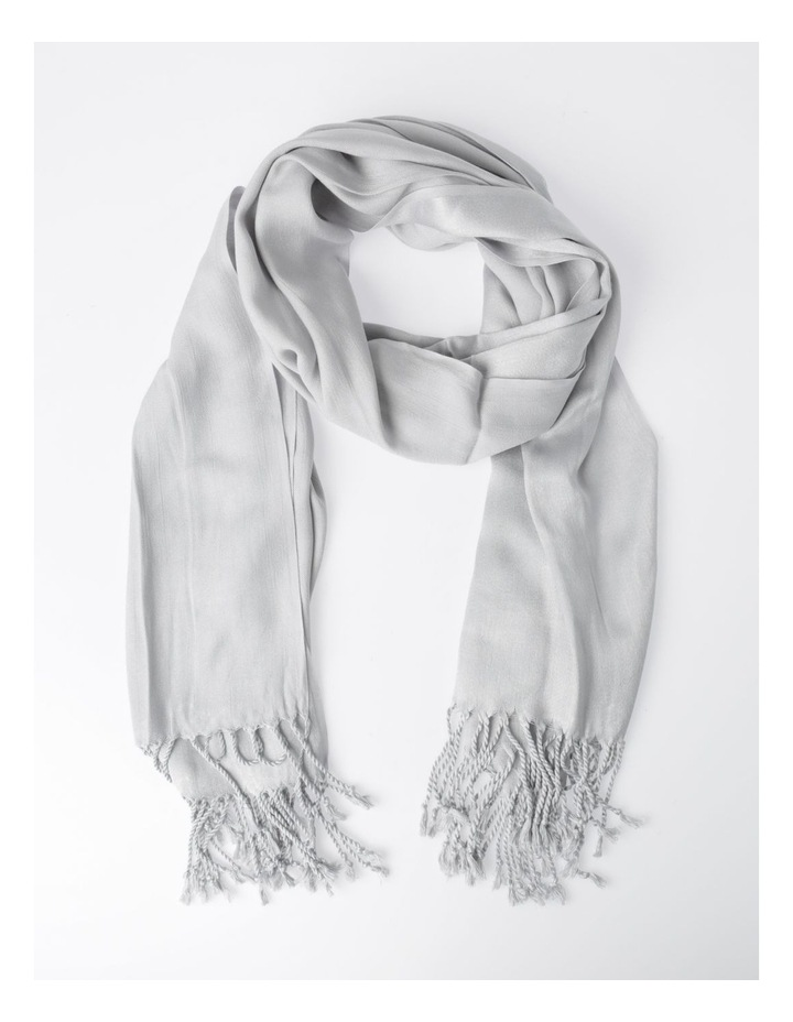 Pashminetta Silver Scarf With Tassel image 1