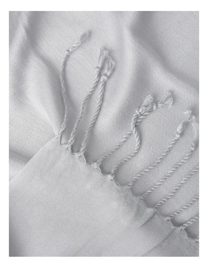 Pashminetta Silver Scarf With Tassel image 3