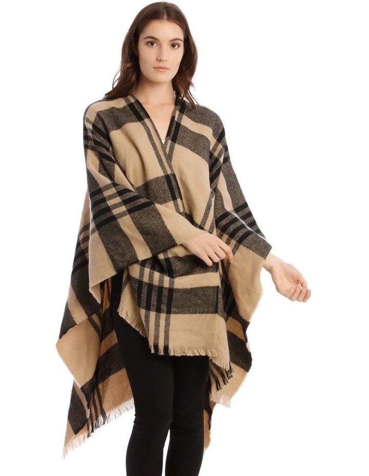 Camel Brown Open Check Poncho image 1