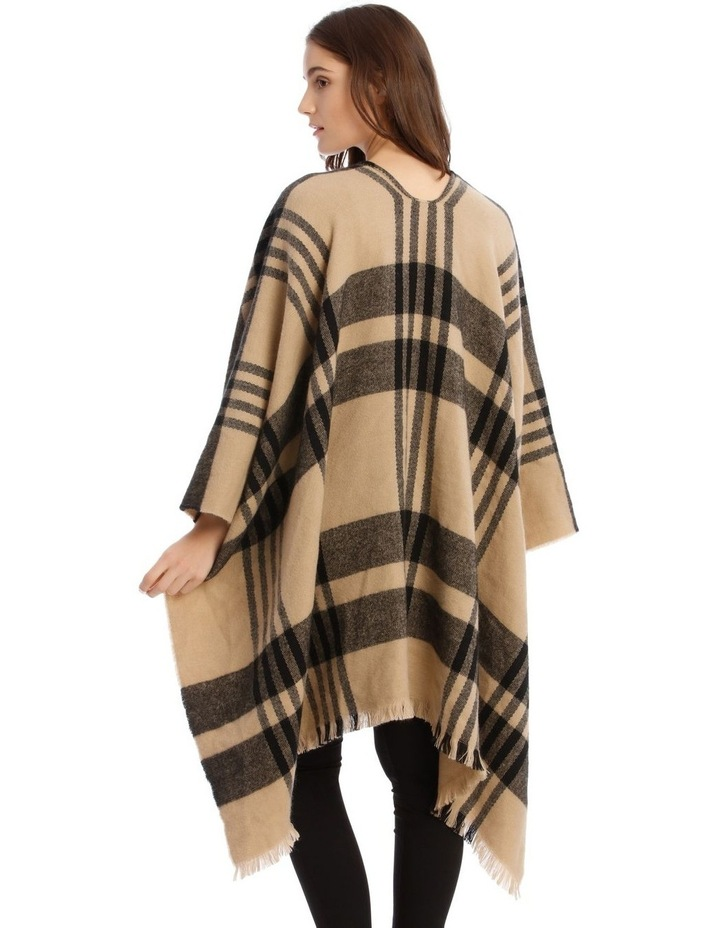 Camel Brown Open Check Poncho image 2