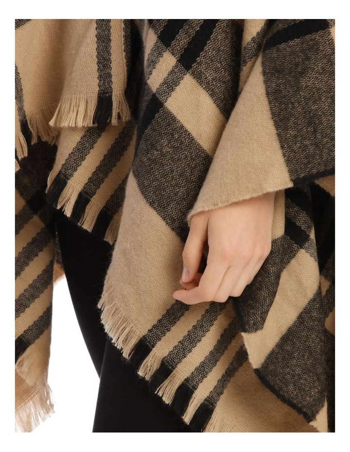 Camel Brown Open Check Poncho image 3
