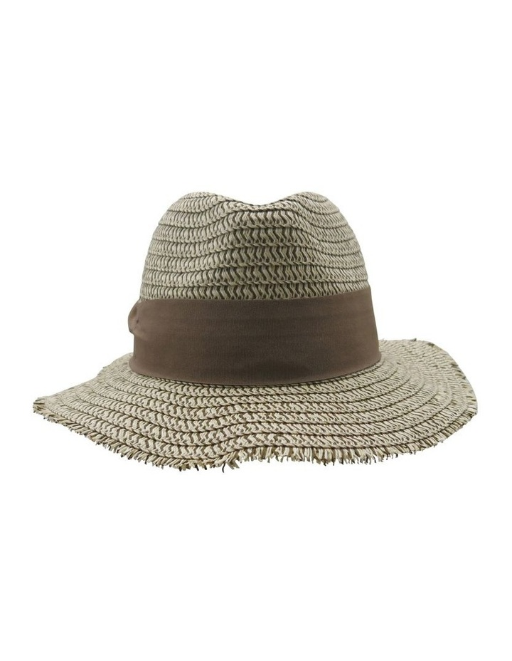 Two Tone Frayed Edge Fedora Summer Hats image 1