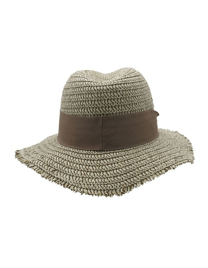 Two Tone Frayed Edge Fedora Summer Hats image 2