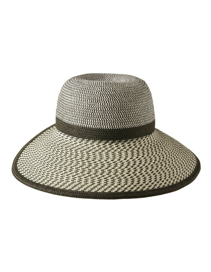 3-7904 Black Cream Pony Tail Sun Hat image 1
