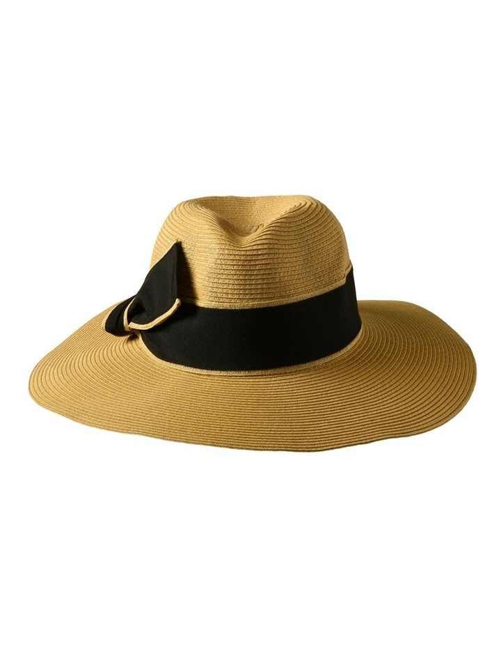 3-7907 Natural Black Sun Hat With Bow image 1