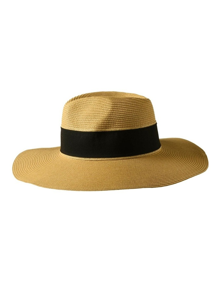 3-7907 Natural Black Sun Hat With Bow image 2