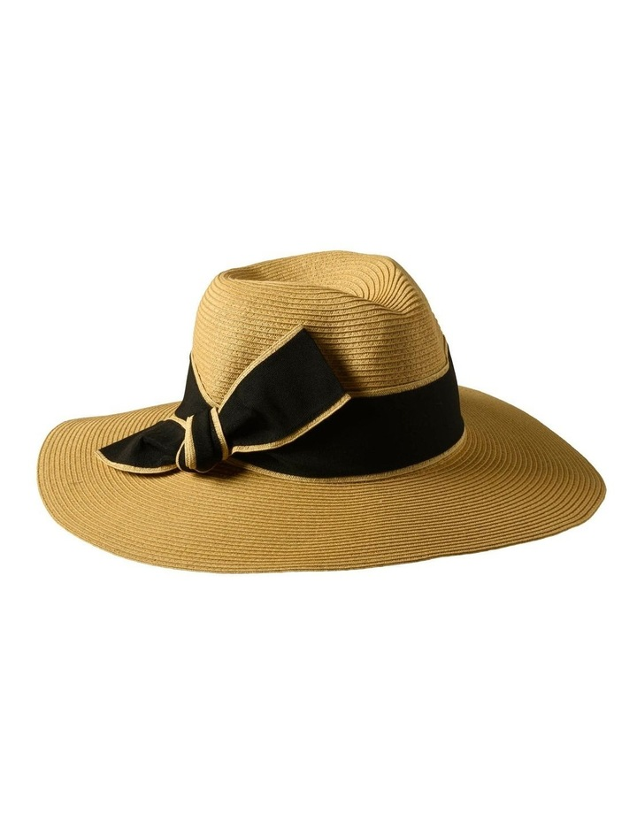 3-7907 Natural Black Sun Hat With Bow image 3