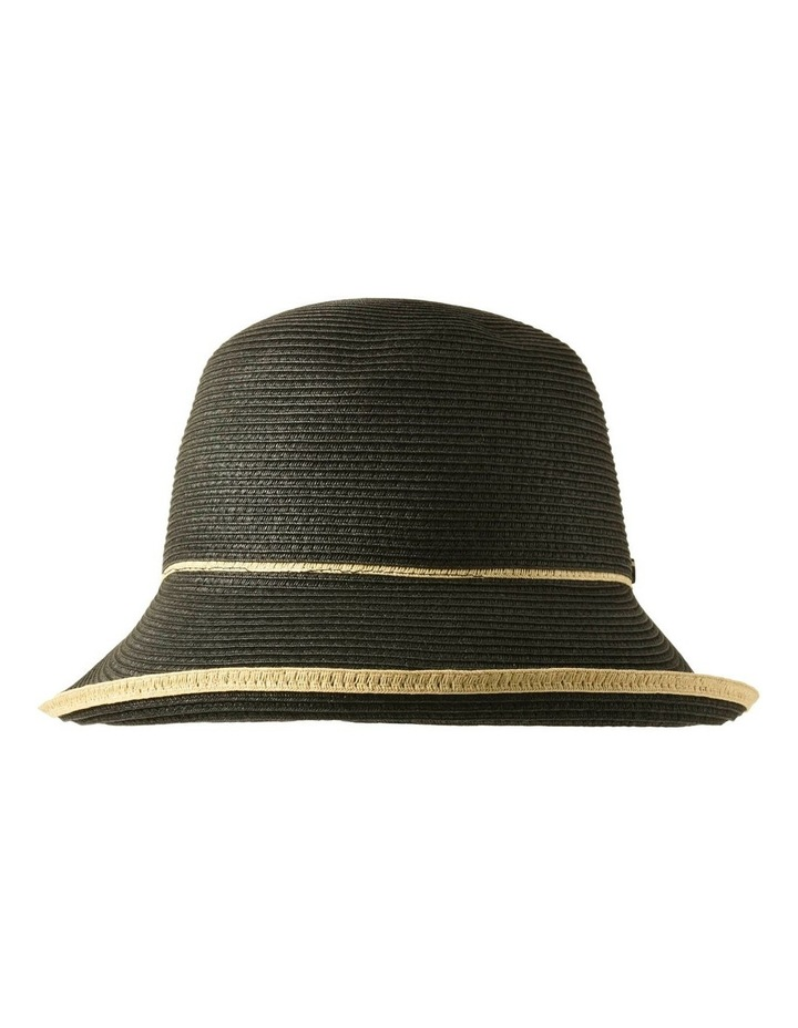 3-7908 Black Turn Up Hat With Trim image 1