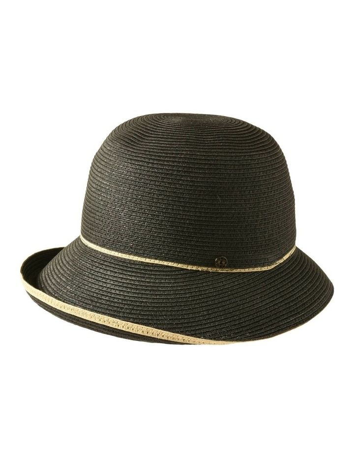 3-7908 Black Turn Up Hat With Trim image 2