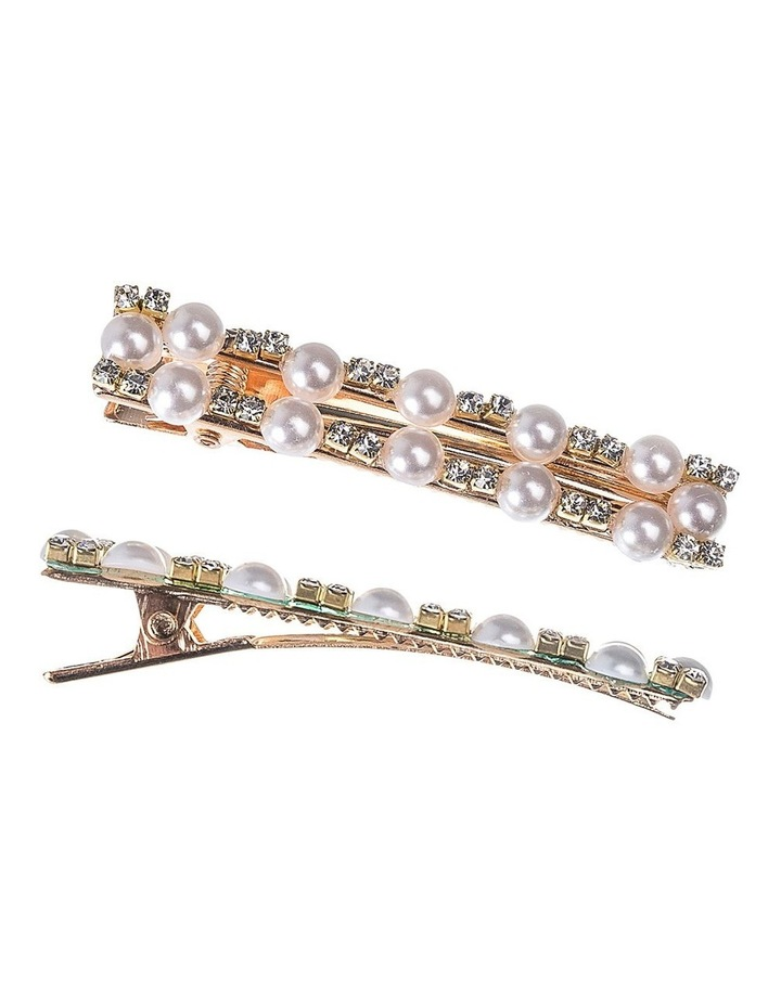 Rectangular Pearl & Diamond Alligator Clip Hair Accessory image 2