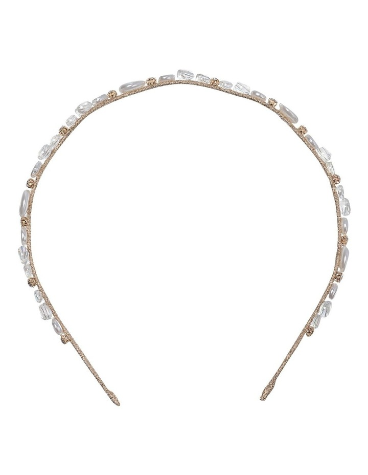 Ivory Headband With Faux Pearl and Beads GHAR012M image 1