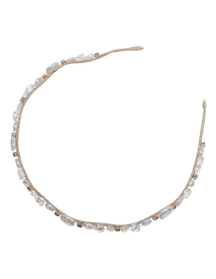 Ivory Headband With Faux Pearl and Beads GHAR012M image 2