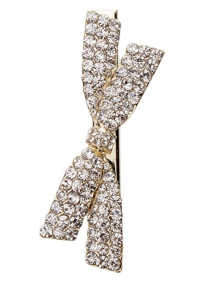 Crystal Gold Bow Hair Clip image 1
