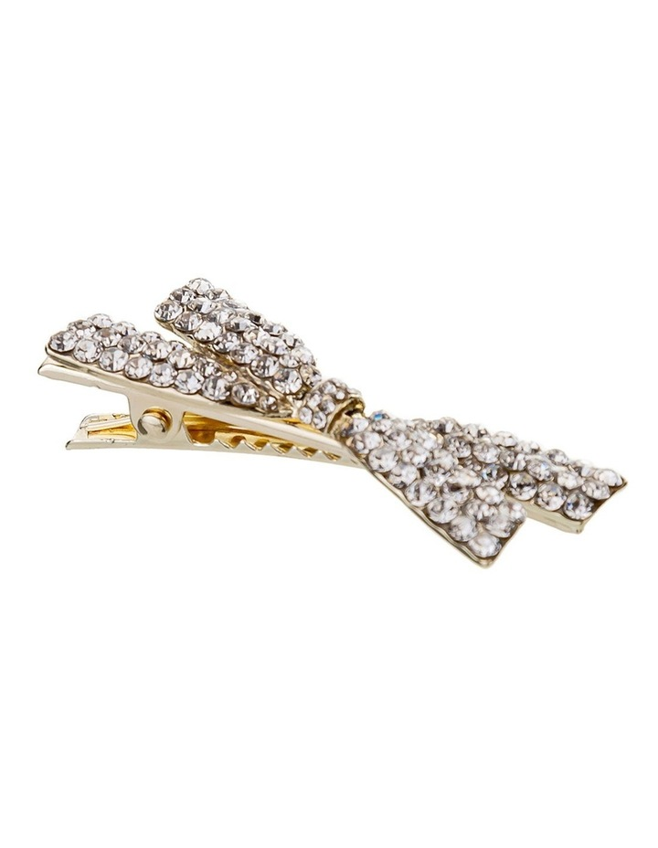 Crystal Gold Bow Hair Clip image 2