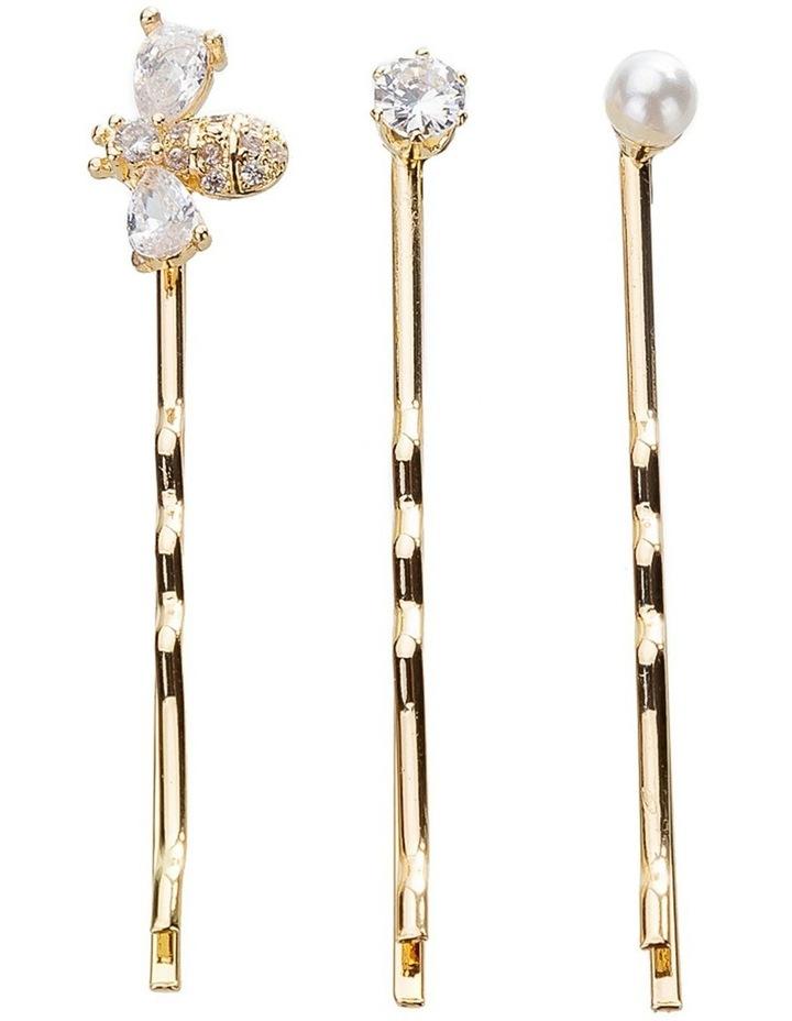 Crystal Pearl Bobby Pin Set image 1