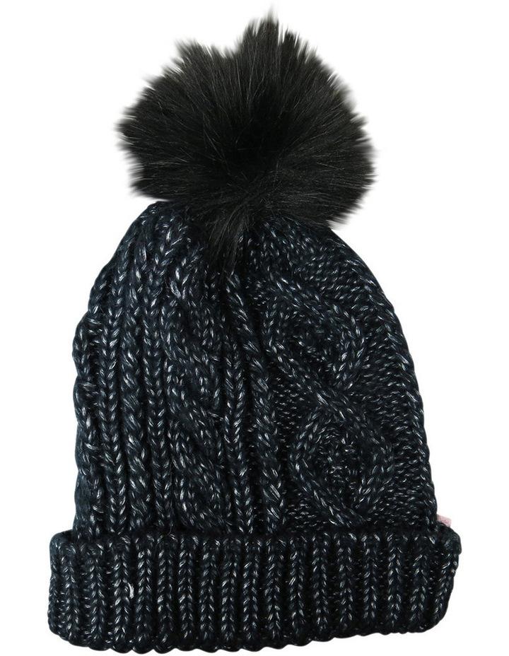 Cable Knit Beanie W Fur Pom Pom W1033 image 1