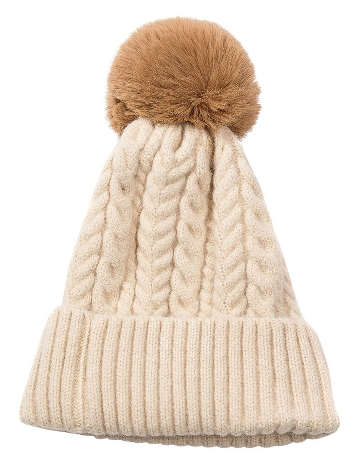 GHCQ003M Cable Knit Removable Pom Beanie image 1