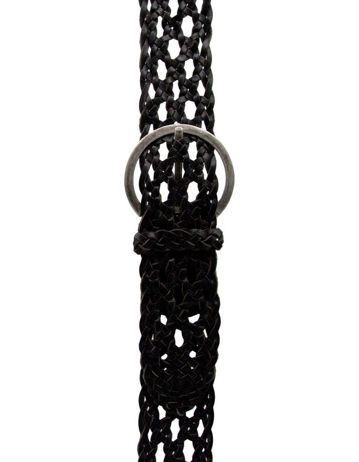 Black Leather Boston Braid Belt image 1