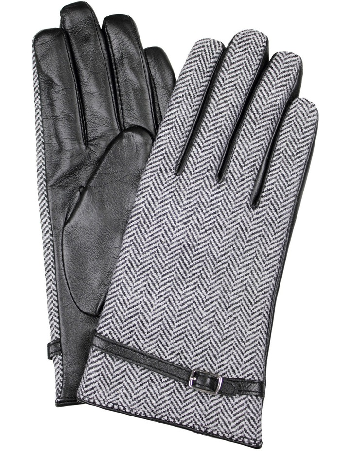 Leather Gloves with Tweed Cuff image 1