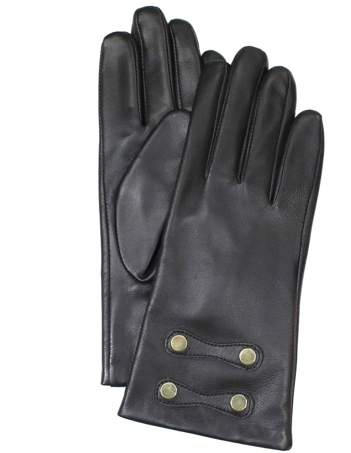 Leather Gloves with Gold Stud Trim image 1