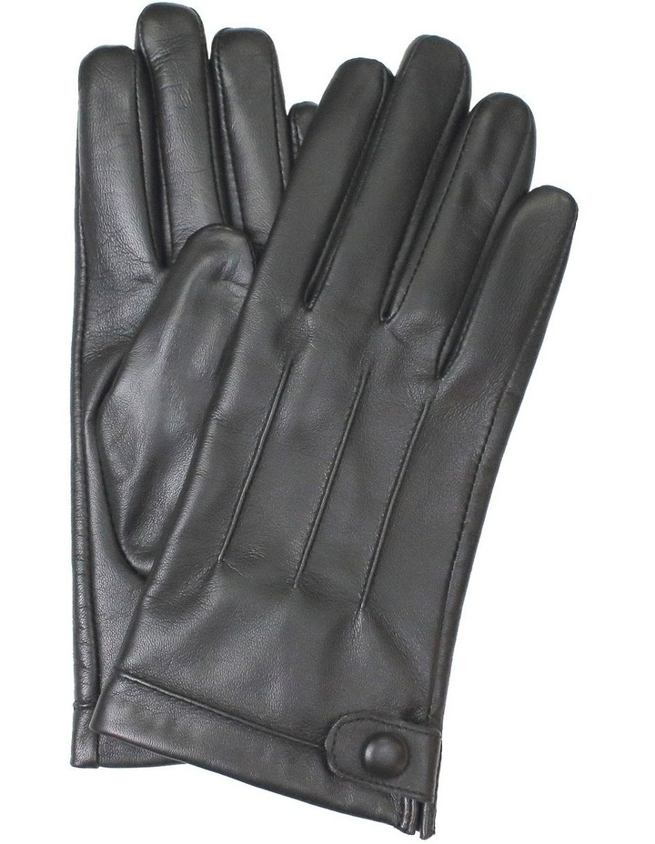 Leather Gloves with Stitch Detail and Stud Button Trim image 1