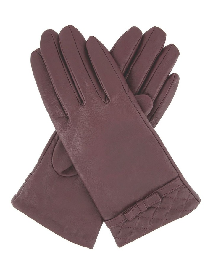 Leather Gloves with Quilted Cuff and Bow Trim image 1