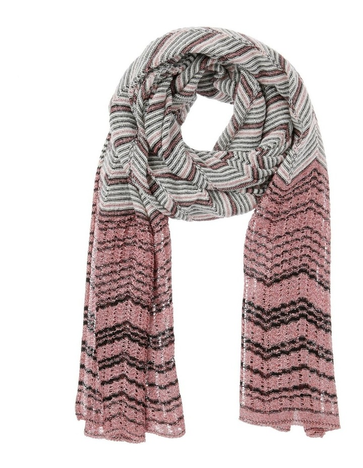 Multicolour Zigzag Knit Scarf - Pink image 1