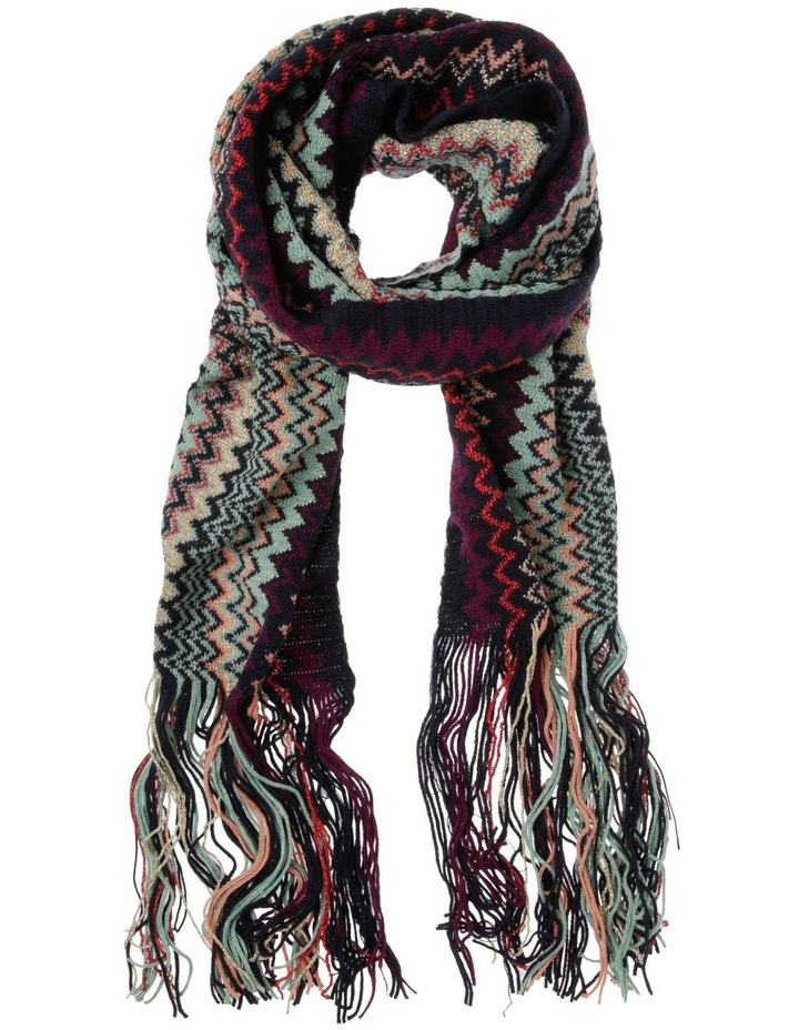 Zigzag Knit Scarf with Fringe - Purple/Teal image 1